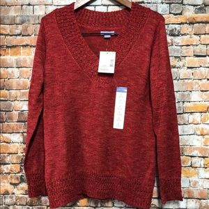 Laura Scott Sweater size Large Chunky V-Neck NEW